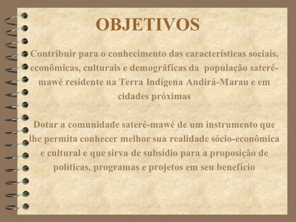 OBJETIVOS Contribuir para o conhecimento das características sociais, econômicas, culturais e demográficas da população sateré- mawé residente na Terr