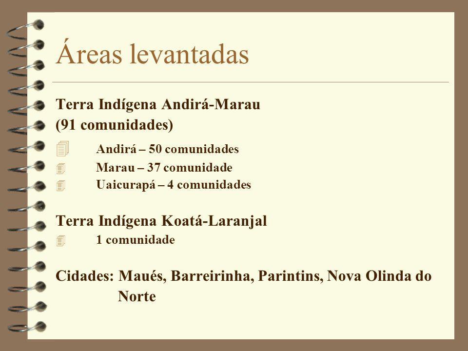 Áreas levantadas Terra Indígena Andirá-Marau (91 comunidades) 4 Andirá – 50 comunidades 4 Marau – 37 comunidade 4 Uaicurapá – 4 comunidades Terra Indí