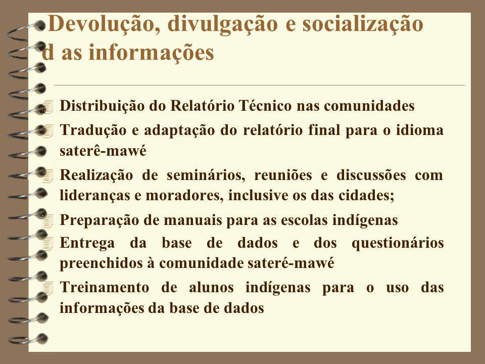 Devolução, divulgação e socialização d as informações 4 Distribuição do Relatório Técnico nas comunidades 4 Tradução e adaptação do relatório final pa