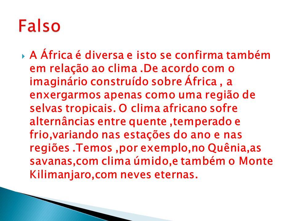  A África é diversa e isto se confirma também em relação ao clima.De acordo com o imaginário construído sobre África, a enxergarmos apenas como uma r