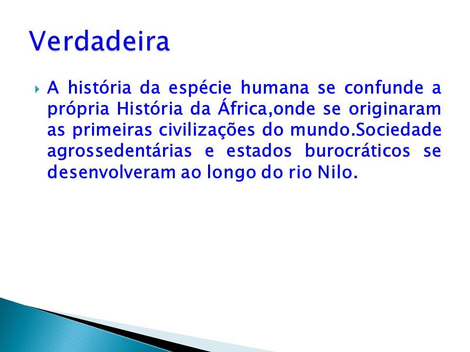  A história da espécie humana se confunde a própria História da África,onde se originaram as primeiras civilizações do mundo.Sociedade agrossedentári