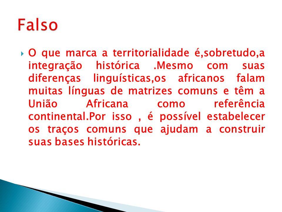  O que marca a territorialidade é,sobretudo,a integração histórica.Mesmo com suas diferenças linguísticas,os africanos falam muitas línguas de matriz