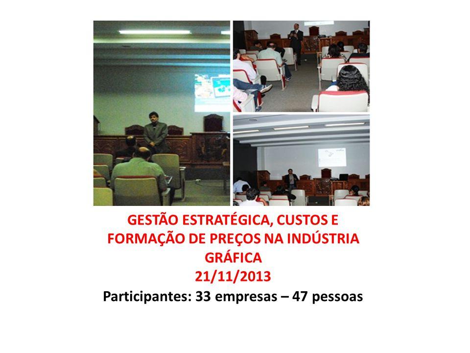 GESTÃO ESTRATÉGICA, CUSTOS E FORMAÇÃO DE PREÇOS NA INDÚSTRIA GRÁFICA 21/11/2013 Participantes: 33 empresas – 47 pessoas