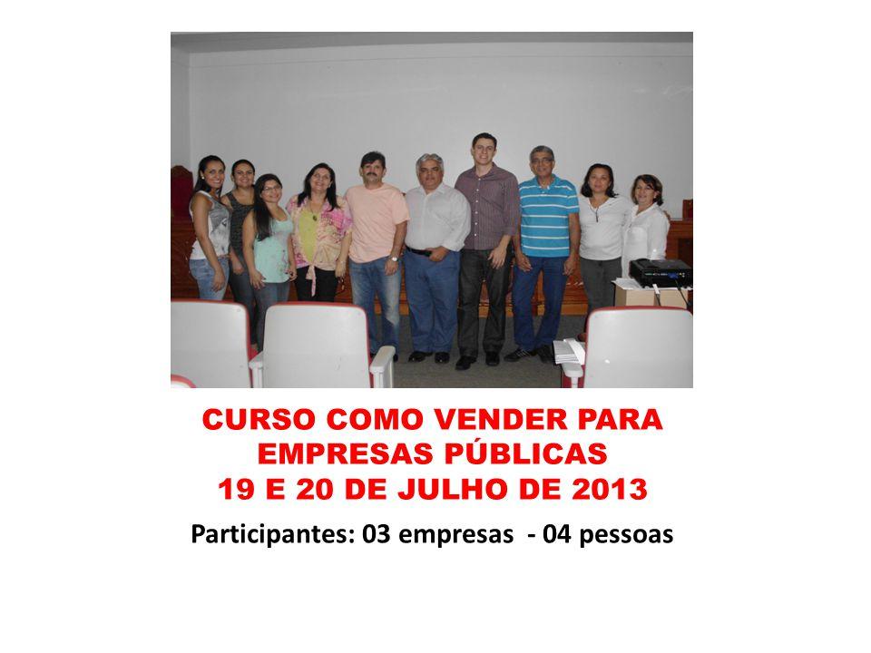 CURSO COMO VENDER PARA EMPRESAS PÚBLICAS 19 E 20 DE JULHO DE 2013 Participantes: 03 empresas - 04 pessoas
