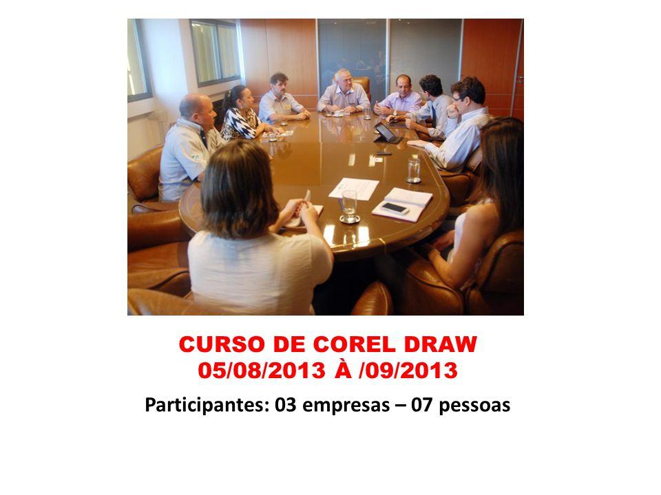 CURSO DE COREL DRAW 05/08/2013 À /09/2013 Participantes: 03 empresas – 07 pessoas