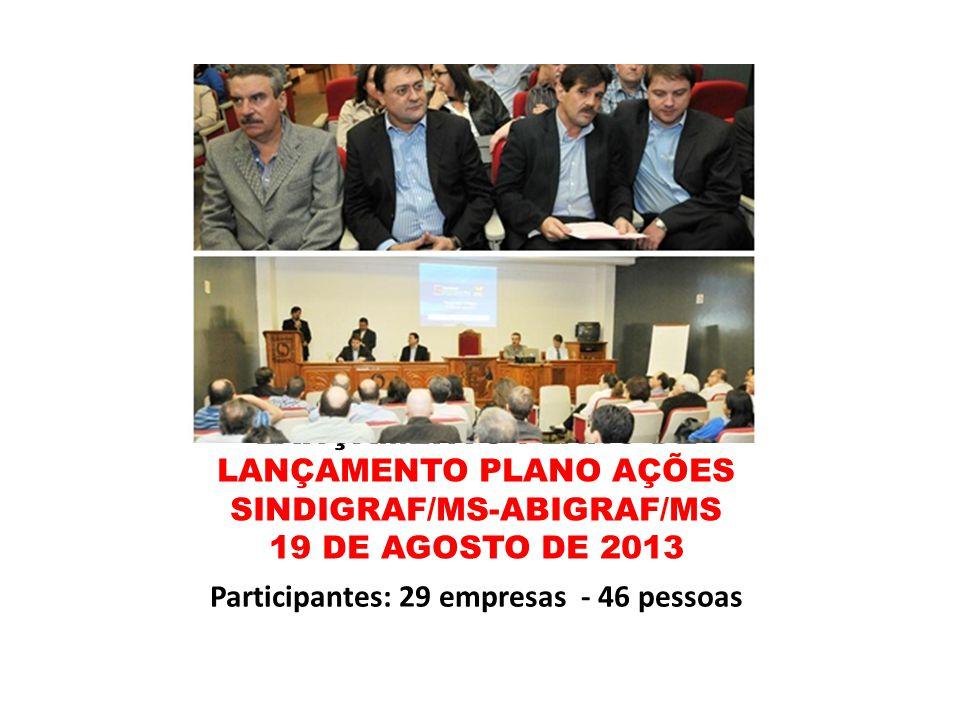 LANÇAMENTO PLANO DE LANÇAMENTO PLANO AÇÕES SINDIGRAF/MS-ABIGRAF/MS 19 DE AGOSTO DE 2013 Participantes: 29 empresas - 46 pessoas