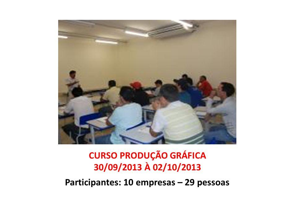 CURSO PRODUÇÃO GRÁFICA 30/09/2013 À 02/10/2013 Participantes: 10 empresas – 29 pessoas