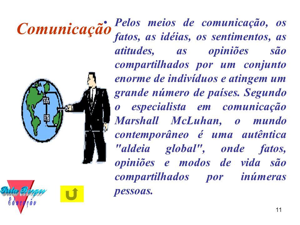 11 Comunicação •Pelos meios de comunicação, os fatos, as idéias, os sentimentos, as atitudes, as opiniões são compartilhados por um conjunto enorme de indivíduos e atingem um grande número de países.