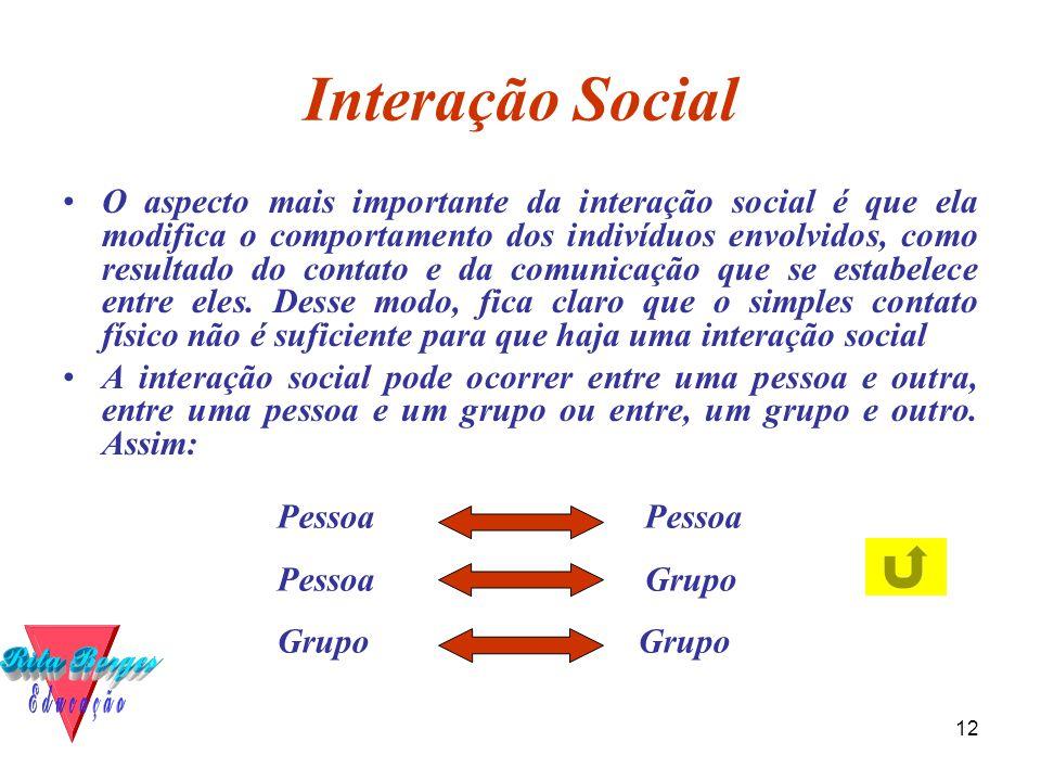12 Interação Social •O aspecto mais importante da interação social é que ela modifica o comportamento dos indivíduos envolvidos, como resultado do contato e da comunicação que se estabelece entre eles.