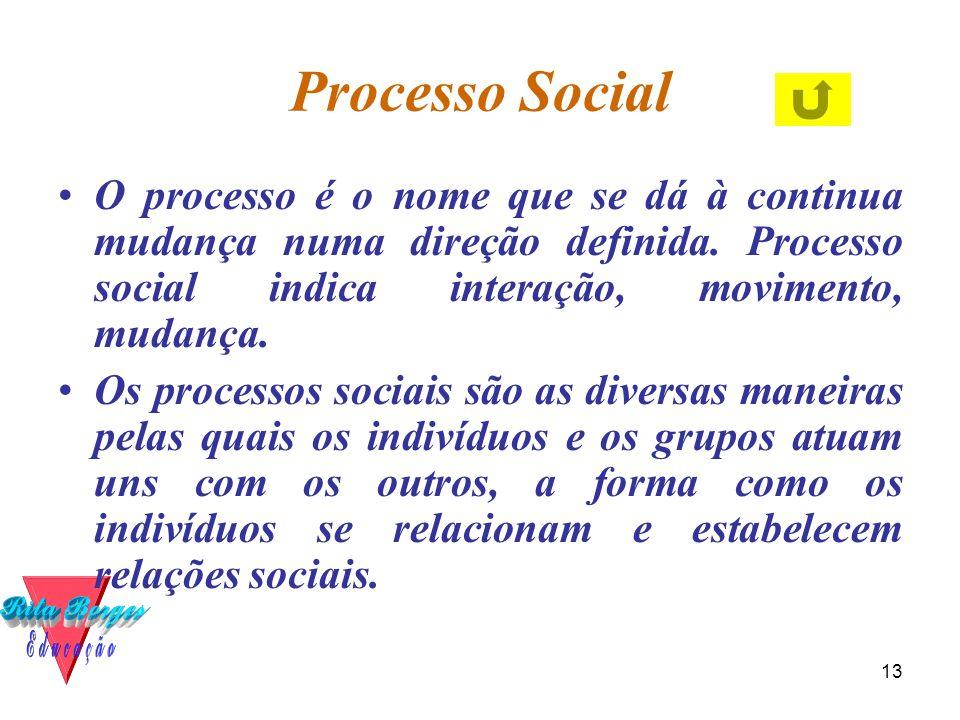 13 Processo Social •O processo é o nome que se dá à continua mudança numa direção definida. Processo social indica interação, movimento, mudança. •Os