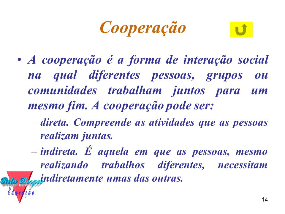 14 Cooperação •A cooperação é a forma de interação social na qual diferentes pessoas, grupos ou comunidades trabalham juntos para um mesmo fim. A coop