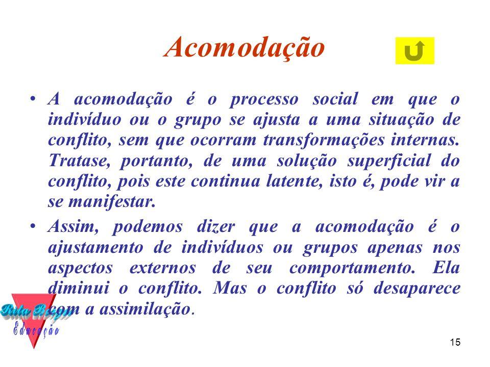 15 Acomodação •A acomodação é o processo social em que o indivíduo ou o grupo se ajusta a uma situação de conflito, sem que ocorram transformações internas.