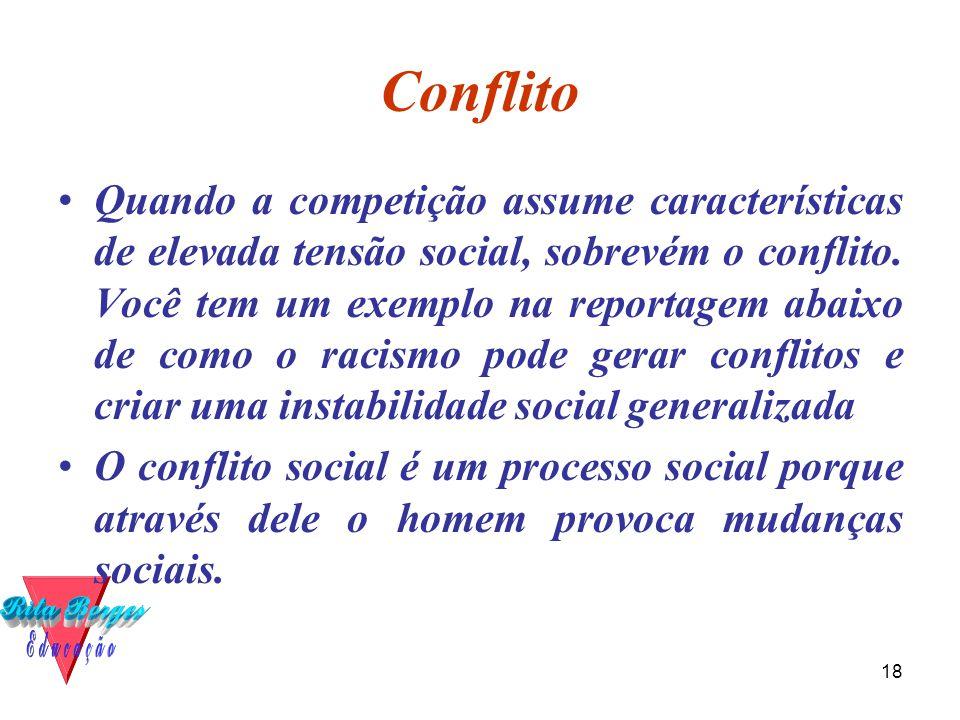 18 Conflito •Quando a competição assume características de elevada tensão social, sobrevém o conflito.