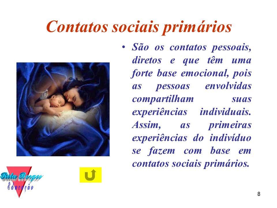 8 Contatos sociais primários •São os contatos pessoais, diretos e que têm uma forte base emocional, pois as pessoas envolvidas compartilham suas experiências individuais.