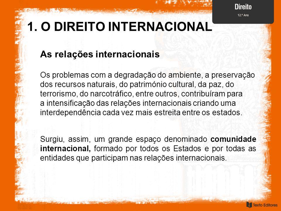 1. O DIREITO INTERNACIONAL As relações internacionais Os problemas com a degradação do ambiente, a preservação dos recursos naturais, do património cu