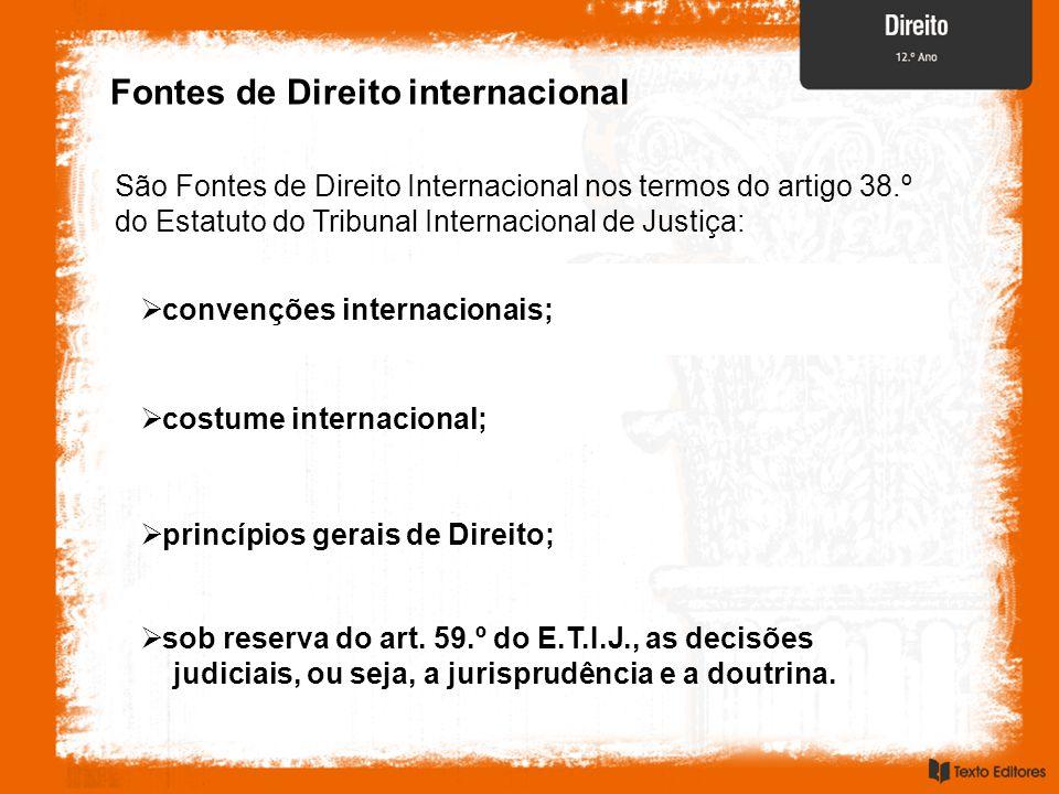Fontes de Direito internacional São Fontes de Direito Internacional nos termos do artigo 38.º do Estatuto do Tribunal Internacional de Justiça:  sob
