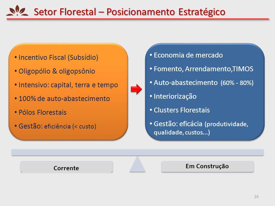 Setor Florestal – Posicionamento Estratégico 16 Impacto Provável Corrente Em Construção • Economia de mercado • Fomento, Arrendamento,TIMOS • Auto-aba