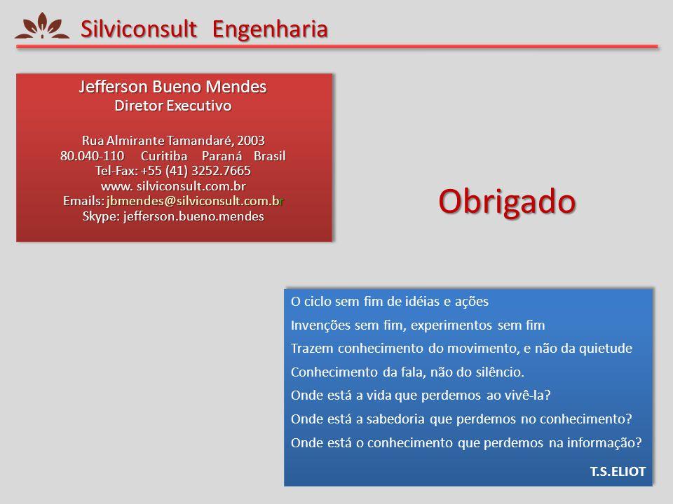 Silviconsult Engenharia Jefferson Bueno Mendes Diretor Executivo Rua Almirante Tamandaré, 2003 80.040-110 Curitiba Paraná Brasil Tel-Fax: +55 (41) 325