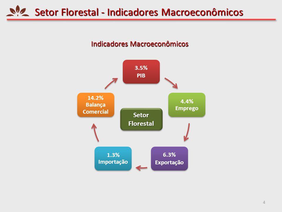 Setor Florestal - Indicadores Macroeconômicos 4 3.5% PIB 4.4% Emprego 6.3% Exportação 1.3% Importação 14.2% Balança Comercial Setor Florestal Indicado
