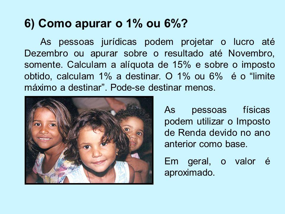 6) Como apurar o 1% ou 6%? As pessoas jurídicas podem projetar o lucro até Dezembro ou apurar sobre o resultado até Novembro, somente. Calculam a alíq
