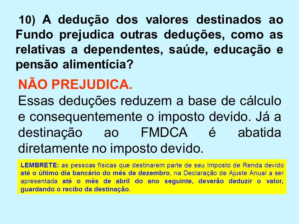 10) A dedução dos valores destinados ao Fundo prejudica outras deduções, como as relativas a dependentes, saúde, educação e pensão alimentícia? NÃO PR