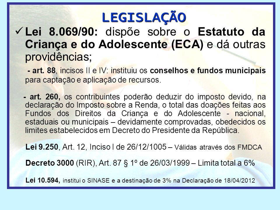  Lei 8.069/90: dispõe sobre o Estatuto da Criança e do Adolescente (ECA) e dá outras providências; - art. 88, incisos II e IV: instituiu os conselhos