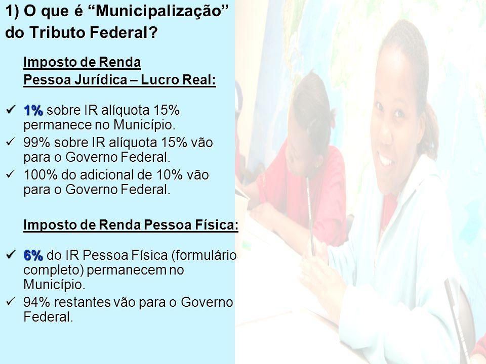 """1) O que é """"Municipalização"""" do Tributo Federal? Imposto de Renda Pessoa Jurídica – Lucro Real:  1% sobre IR alíquota 15% permanece no Município.  9"""