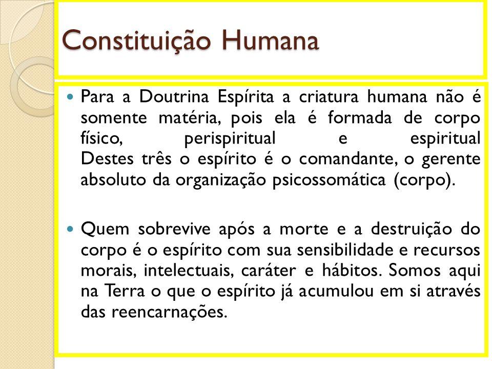 Constituição Humana  Para a Doutrina Espírita a criatura humana não é somente matéria, pois ela é formada de corpo físico, perispiritual e espiritual