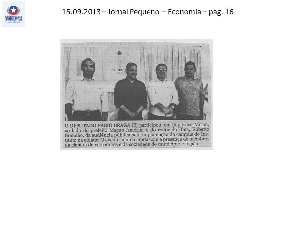 15.09.2013 – Jornal Pequeno – Economia – pag. 16
