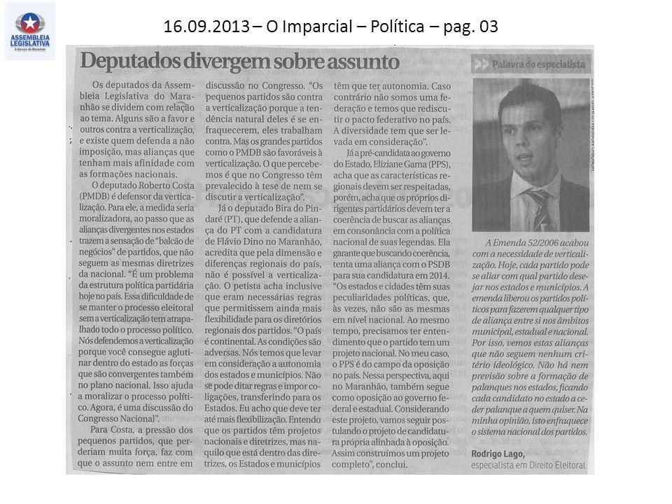 16.09.2013 – O Imparcial – Política – pag. 03