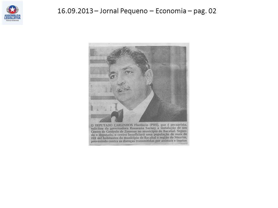 16.09.2013 – Jornal Pequeno – Economia – pag. 02