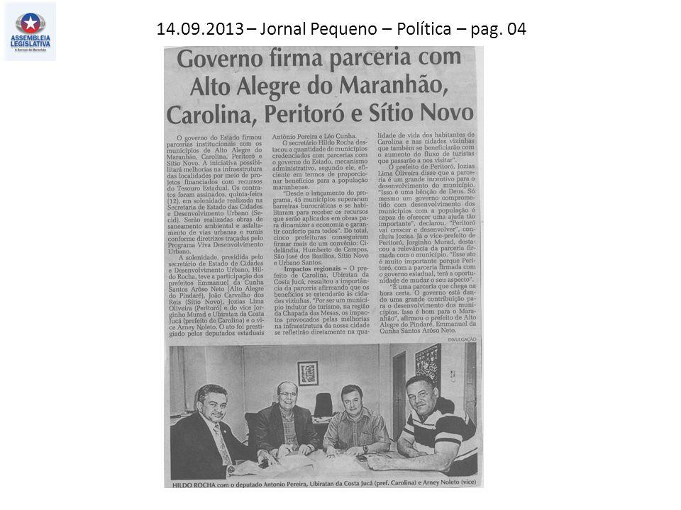 14.09.2013 – Jornal Pequeno – Política – pag. 04