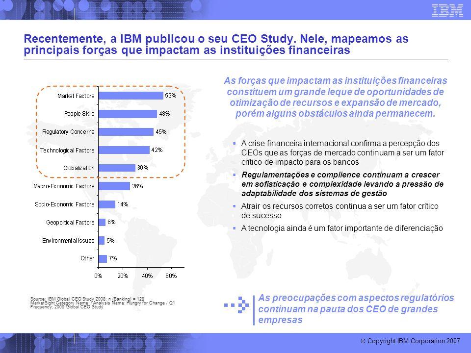 © Copyright IBM Corporation 2007 Recentemente, a IBM publicou o seu CEO Study. Nele, mapeamos as principais forças que impactam as instituições financ