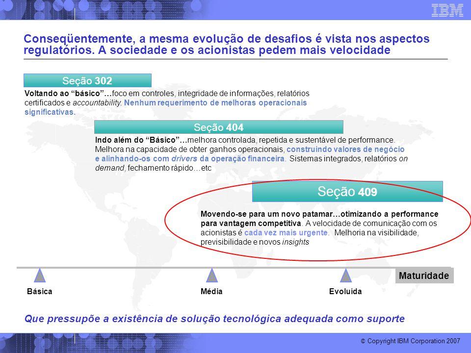 © Copyright IBM Corporation 2007 Conseqüentemente, a mesma evolução de desafios é vista nos aspectos regulatórios. A sociedade e os acionistas pedem m