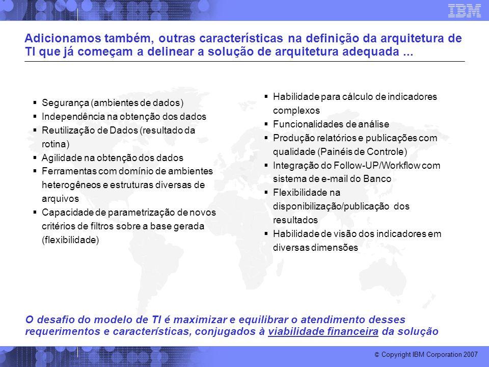 © Copyright IBM Corporation 2007 Adicionamos também, outras características na definição da arquitetura de TI que já começam a delinear a solução de a
