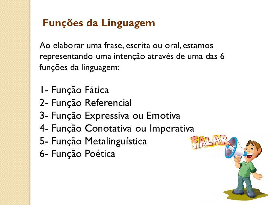 Funções da Linguagem Ao elaborar uma frase, escrita ou oral, estamos representando uma intenção através de uma das 6 funções da linguagem: 1- Função F