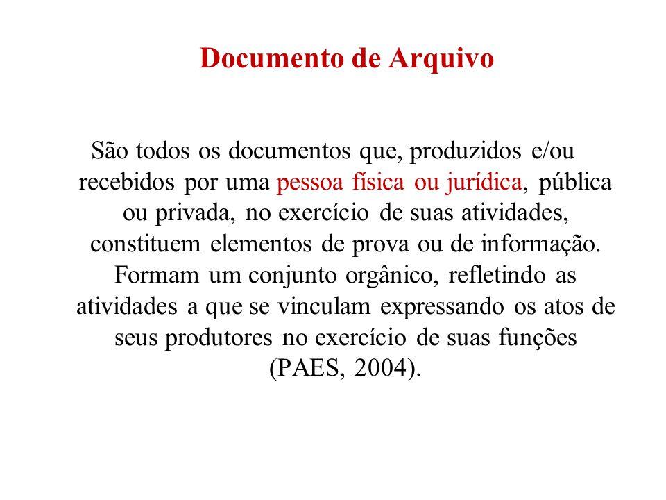 Documento de Arquivo São todos os documentos que, produzidos e/ou recebidos por uma pessoa física ou jurídica, pública ou privada, no exercício de sua