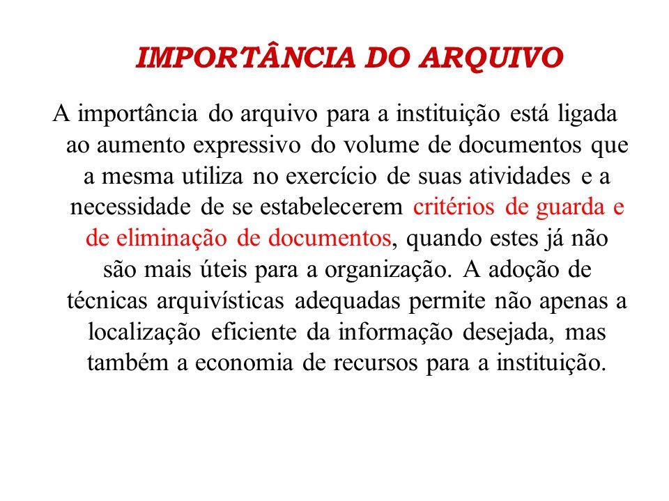 IMPORTÂNCIA DO ARQUIVO A importância do arquivo para a instituição está ligada ao aumento expressivo do volume de documentos que a mesma utiliza no ex