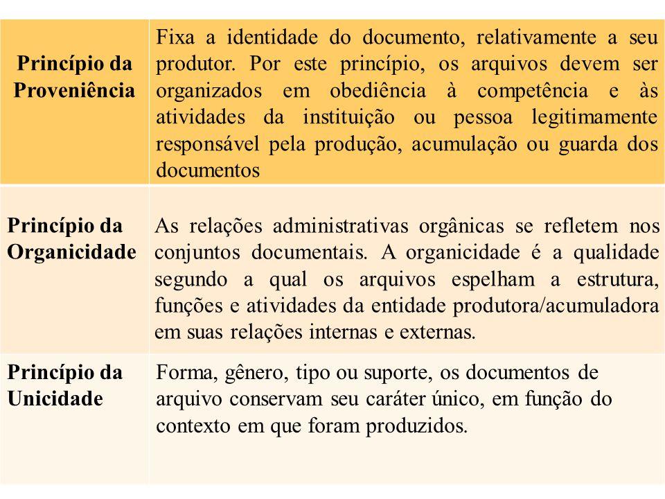 Princípio da Proveniência Fixa a identidade do documento, relativamente a seu produtor. Por este princípio, os arquivos devem ser organizados em obedi