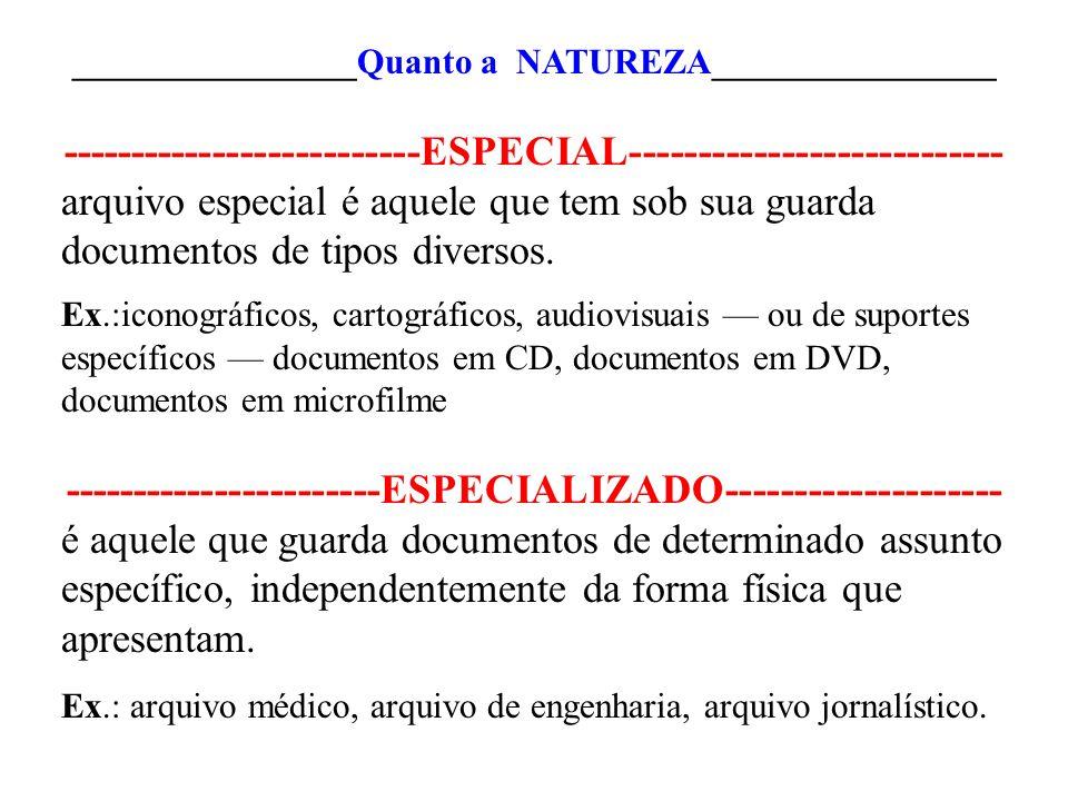 ________________Quanto a NATUREZA________________ --------------------------ESPECIAL--------------------------- arquivo especial é aquele que tem sob