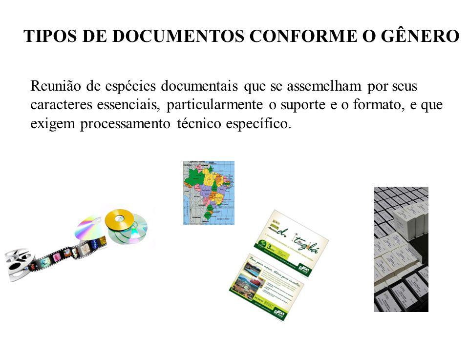 TIPOS DE DOCUMENTOS CONFORME O GÊNERO Reunião de espécies documentais que se assemelham por seus caracteres essenciais, particularmente o suporte e o