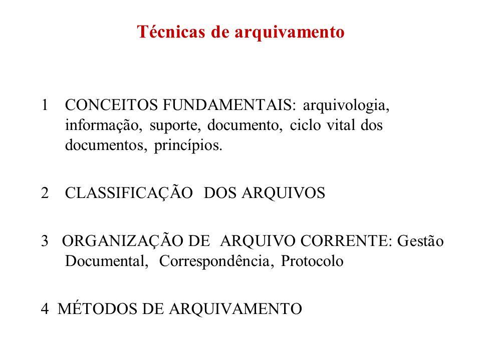 Técnicas de arquivamento 1CONCEITOS FUNDAMENTAIS: arquivologia, informação, suporte, documento, ciclo vital dos documentos, princípios. 2CLASSIFICAÇÃO