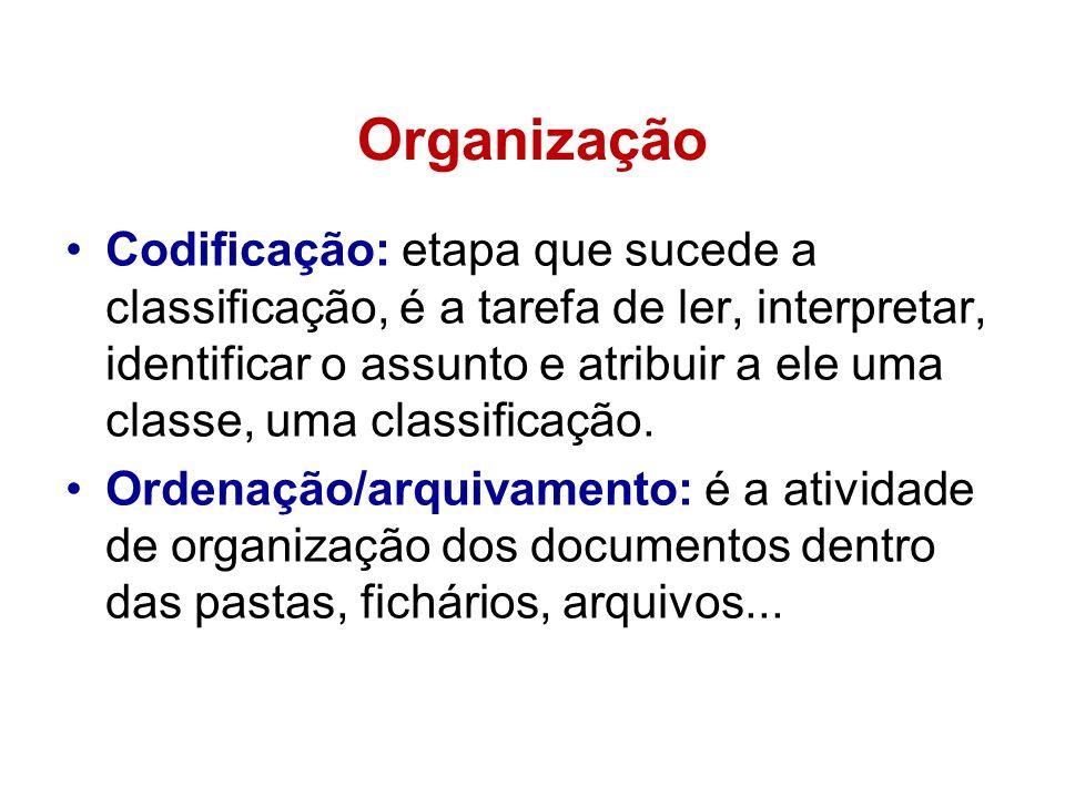 Organização •Codificação: etapa que sucede a classificação, é a tarefa de ler, interpretar, identificar o assunto e atribuir a ele uma classe, uma cla
