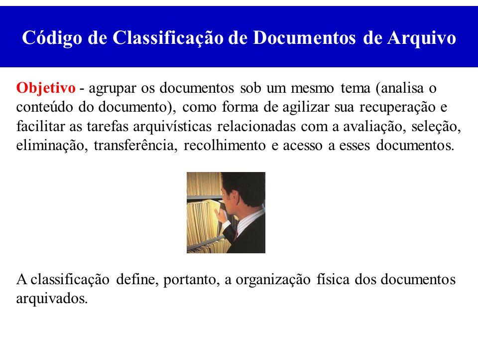 Objetivo - agrupar os documentos sob um mesmo tema (analisa o conteúdo do documento), como forma de agilizar sua recuperação e facilitar as tarefas ar