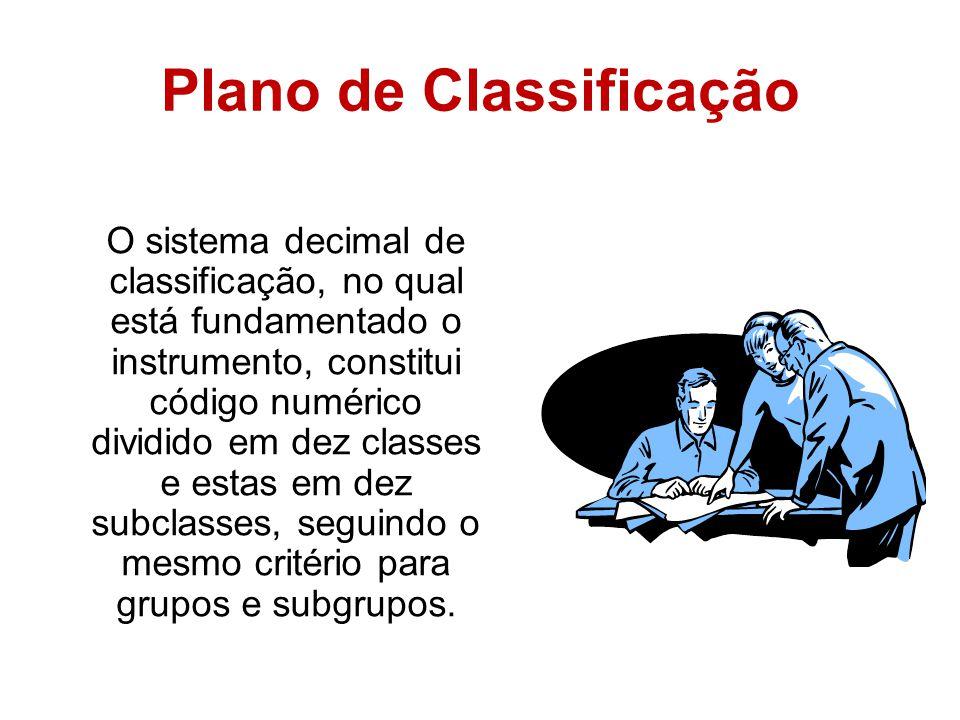 Plano de Classificação O sistema decimal de classificação, no qual está fundamentado o instrumento, constitui código numérico dividido em dez classes