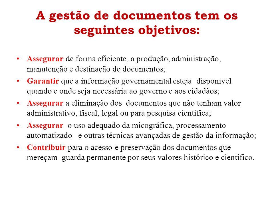 A gestão de documentos tem os seguintes objetivos: •Assegurar de forma eficiente, a produção, administração, manutenção e destinação de documentos; •G