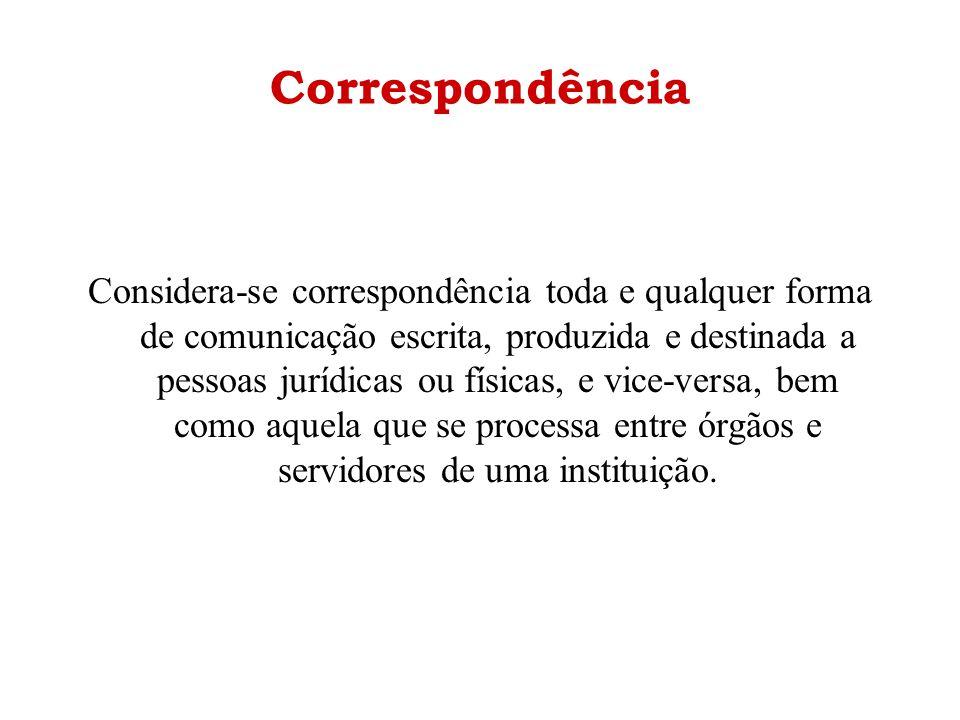Correspondência Considera-se correspondência toda e qualquer forma de comunicação escrita, produzida e destinada a pessoas jurídicas ou físicas, e vic