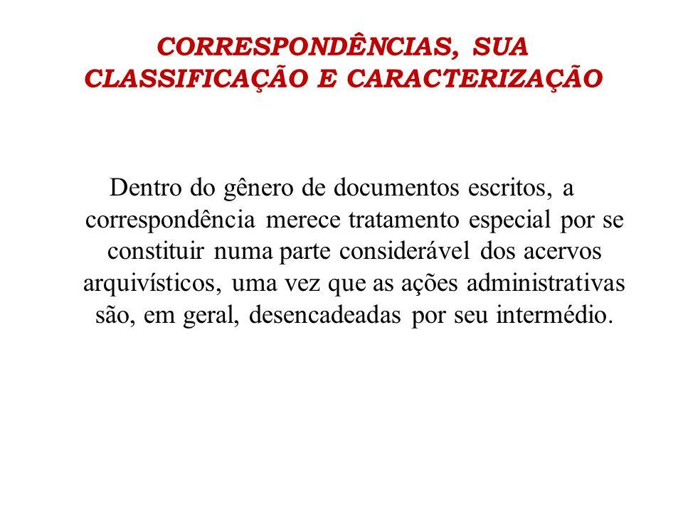 CORRESPONDÊNCIAS, SUA CLASSIFICAÇÃO E CARACTERIZAÇÃO Dentro do gênero de documentos escritos, a correspondência merece tratamento especial por se cons
