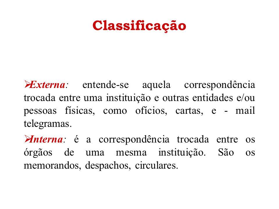 Classificação  Externa: entende-se aquela correspondência trocada entre uma instituição e outras entidades e/ou pessoas físicas, como ofícios, cartas
