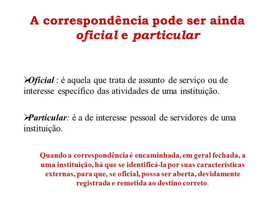 A correspondência pode ser ainda oficial e particular  Oficial : é aquela que trata de assunto de serviço ou de interesse específico das atividades d